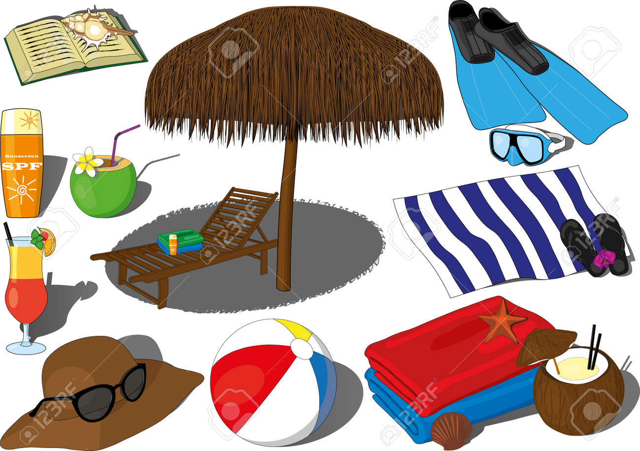 Summer beach sea weekend vacation recreation vector. Hot summer relaxation, ocean rest, coconut and beach cocktail, coconut water, flippers and swimming gogles, sunbed with a sun umbrella, beach towel - 164958735