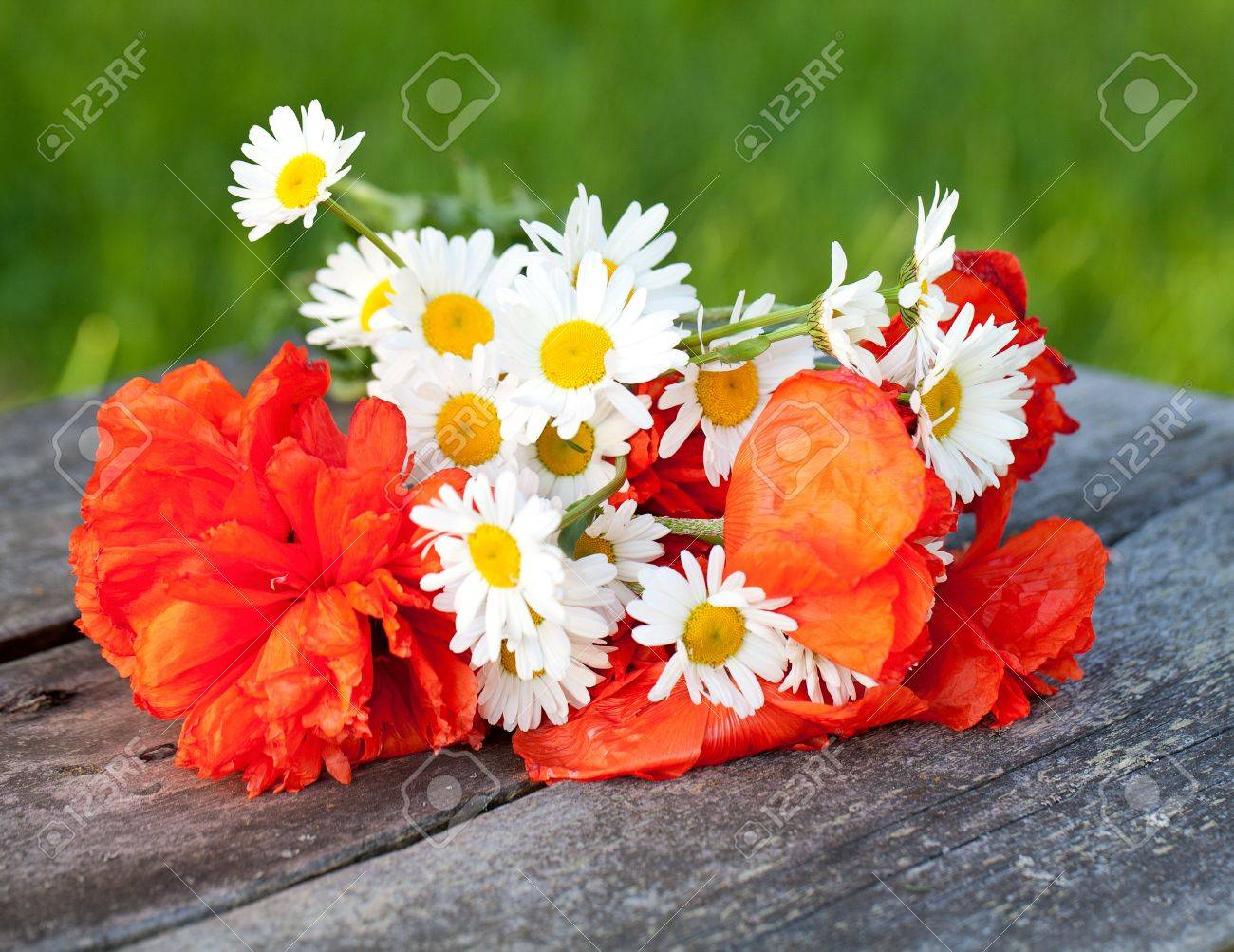chamomiles and poppy flowers on wooden table Stock Photo - 13856031