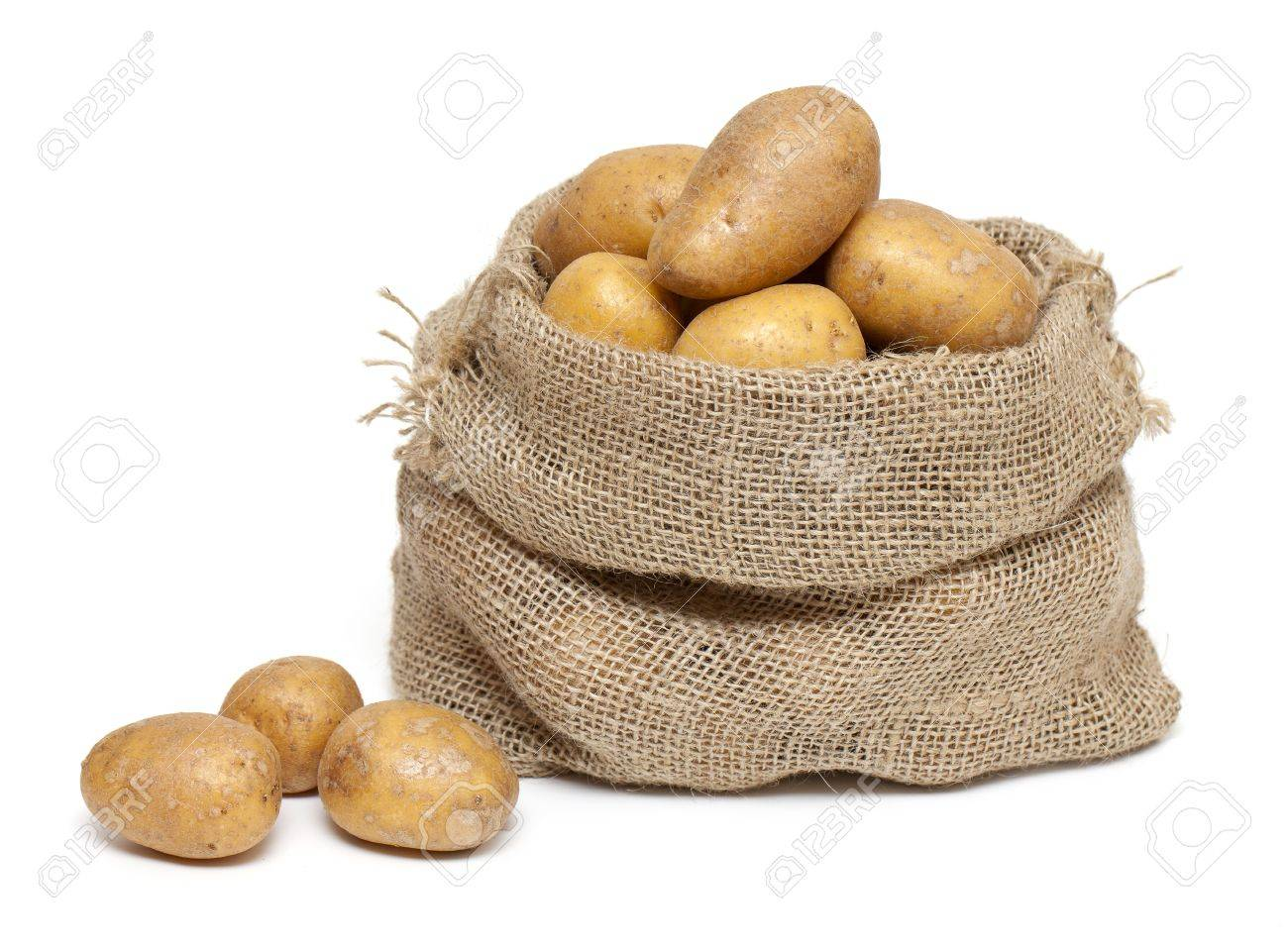 Potatoes In Burlap Bag Isolated On White Background Stock Photo