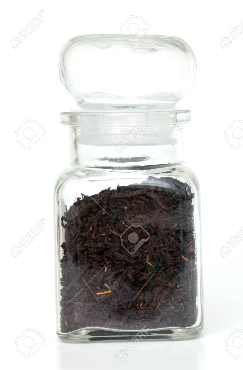 tea and glass jar isolated on white background Stock Photo - 16536754