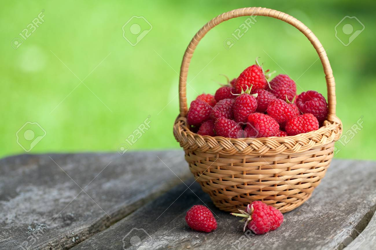 raspberries in a basket and empty space for your text Stock Photo - 17552826