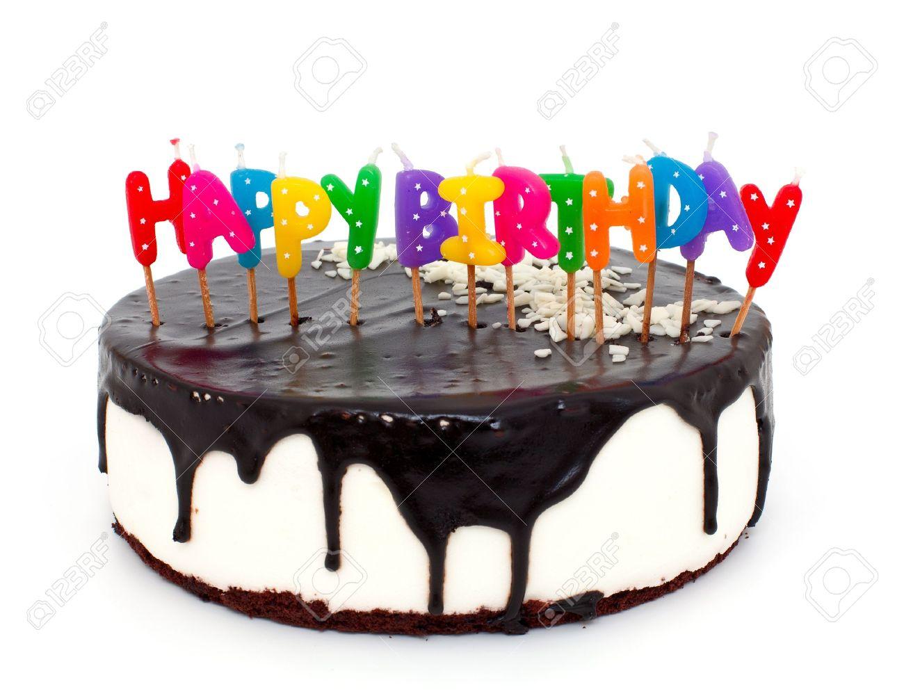 Kuchen Mit Happy Birthday Kerzen Auf Weissem Hintergrund Lizenzfreie