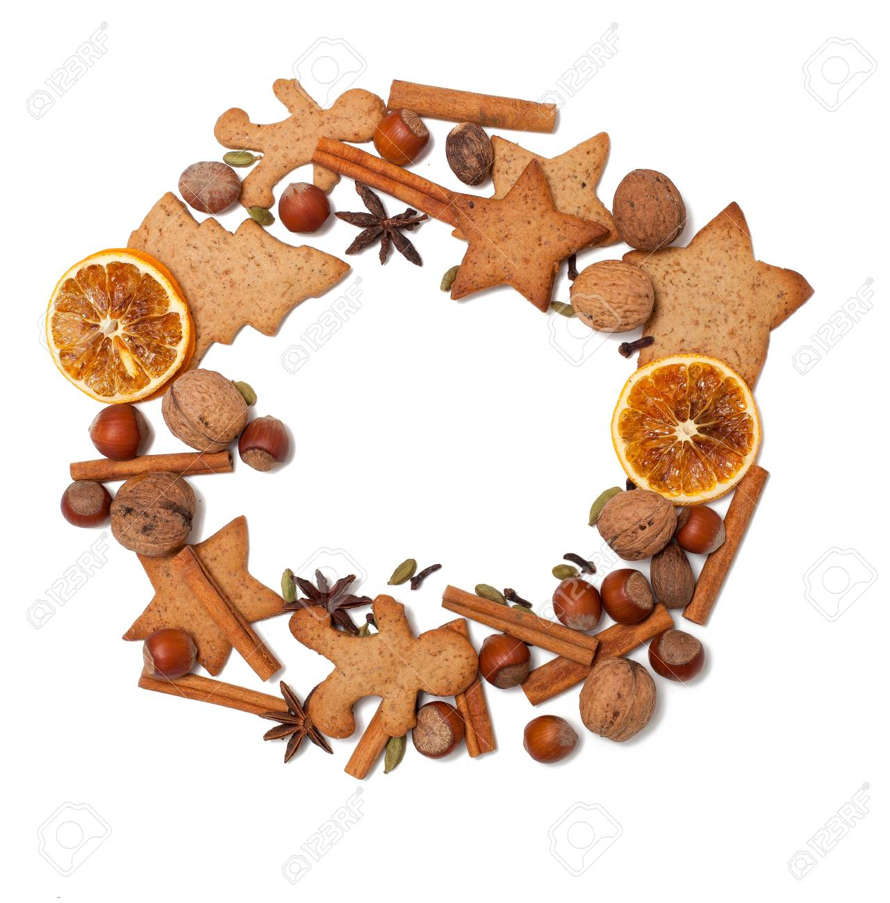 Christmas cookies and spices border Stock Photo - 20674682