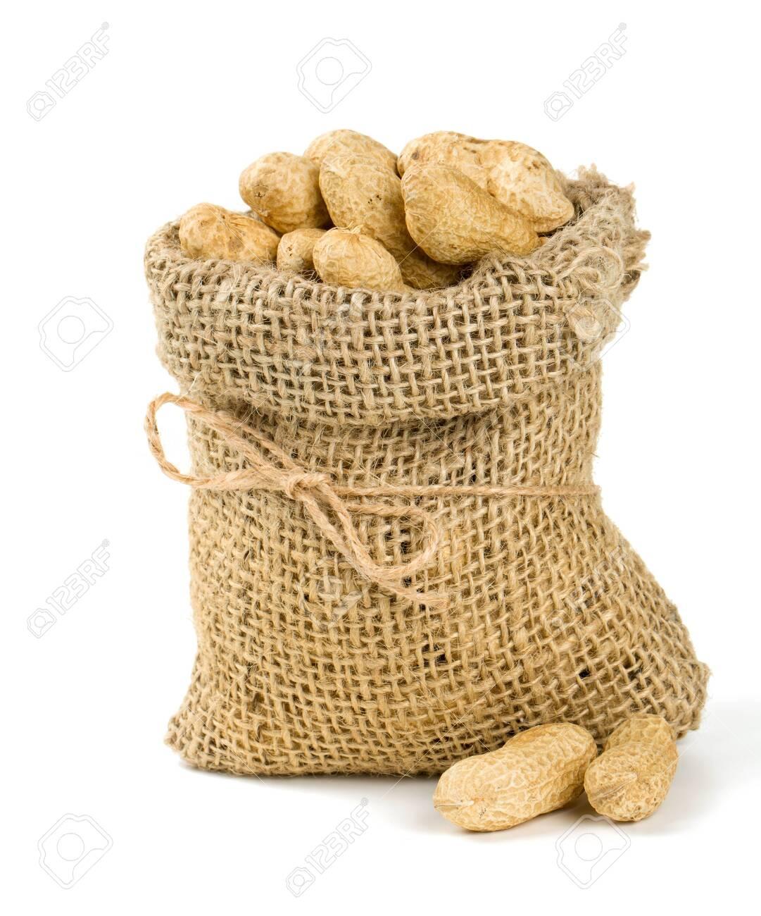 foto de archivo cacahuetes en una bolsa de arpillera en miniatura aislado en blanco