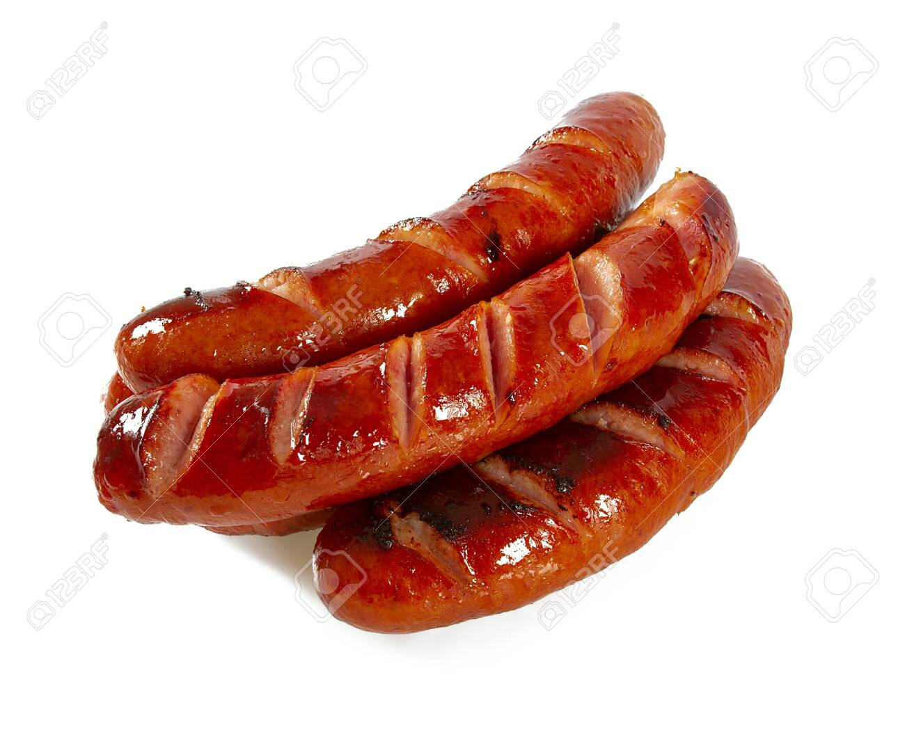 Grilled sausages isolated on a white background - 121103987
