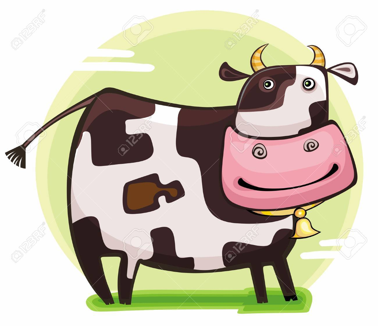Cute friendly cow. 2009 is the Year of the Ox according to the Chinese Zodiac Stock Vector - 4747704