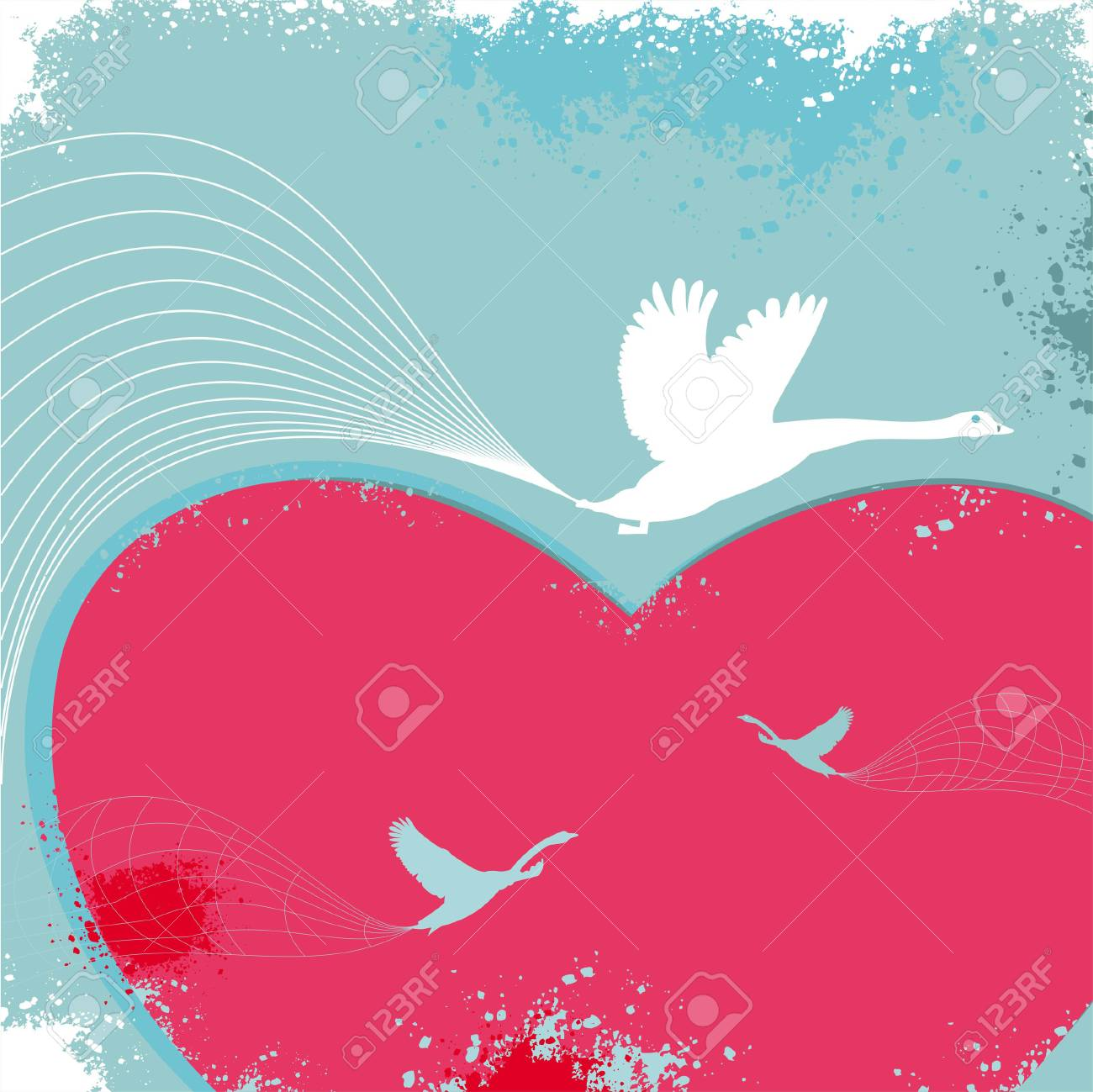 Valentine card with birds. Stock Vector - 4747724