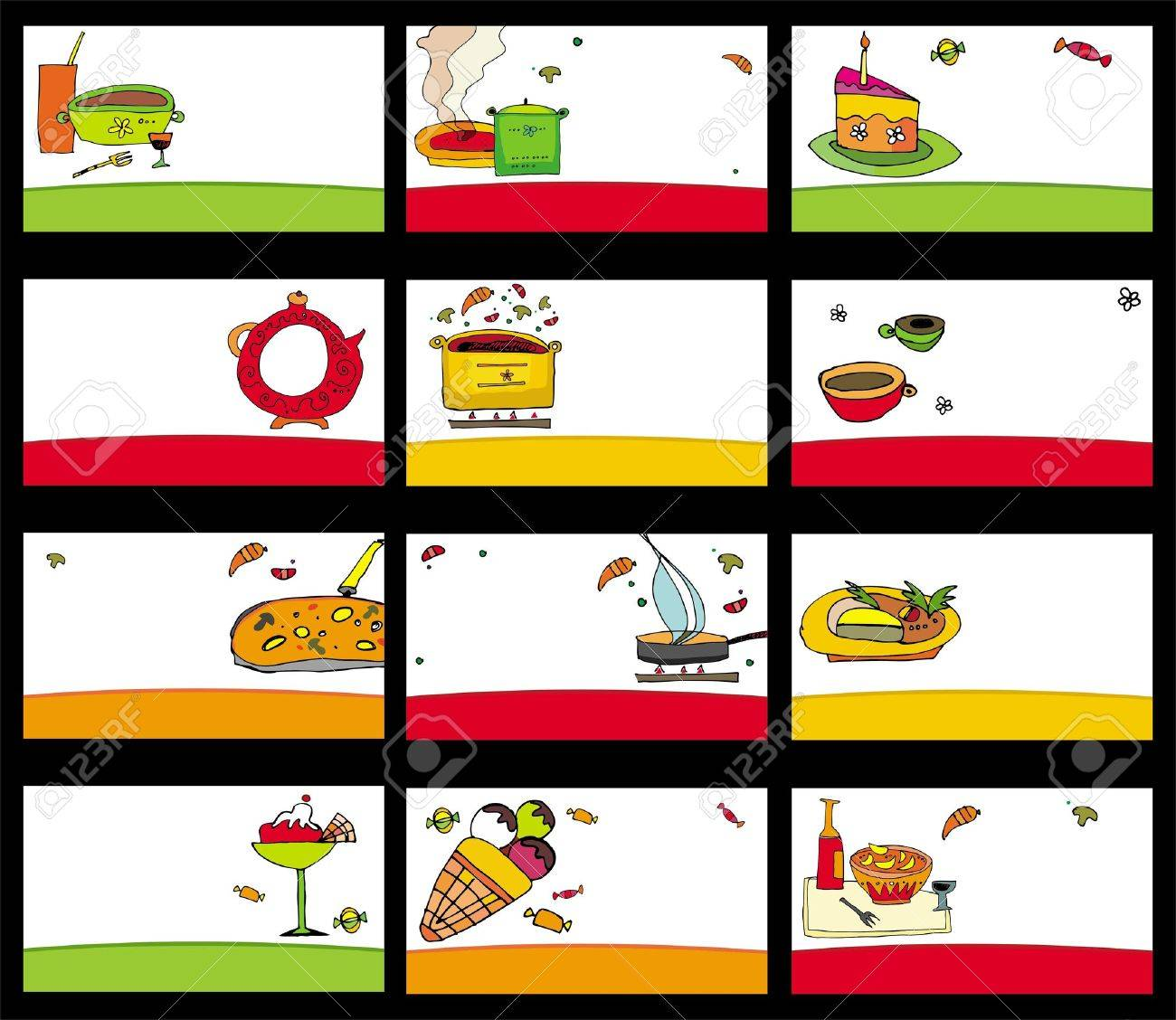 15 colorful food cards Stock Vector - 9307949