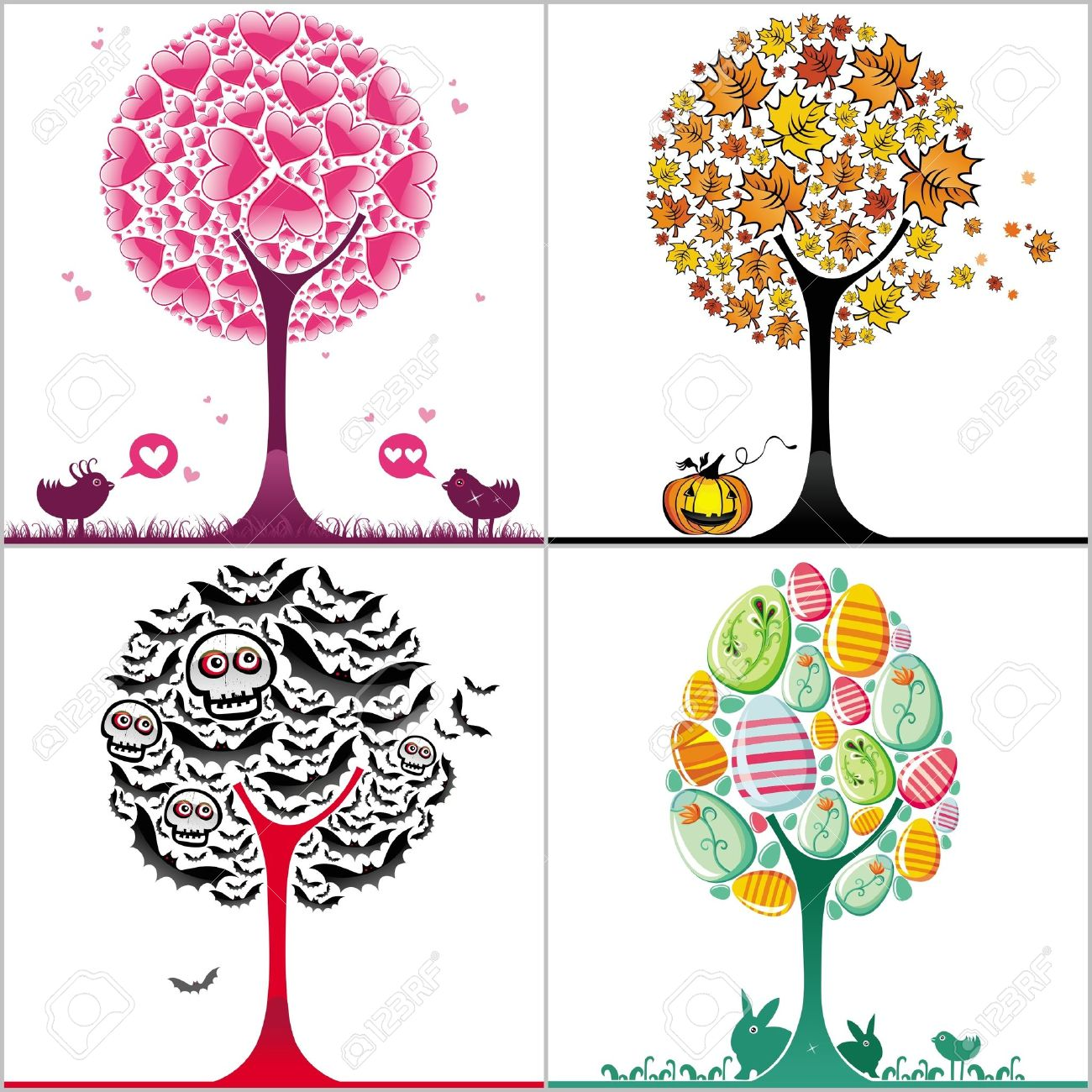 Set of colorful stylized trees Stock Vector - 9330063