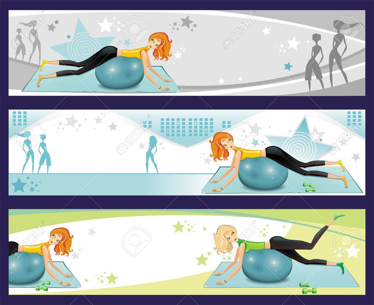 Pilates exercise banners. Stock Vector - 9330058