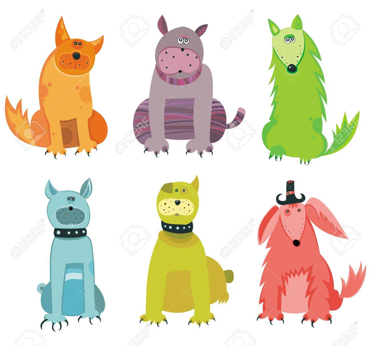 Funny vector dogs. Stock Vector - 9354750