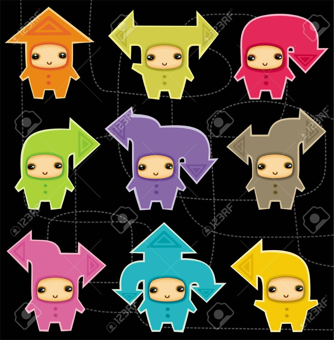 Funny kids in costumes of communication arrows Stock Vector - 9354761