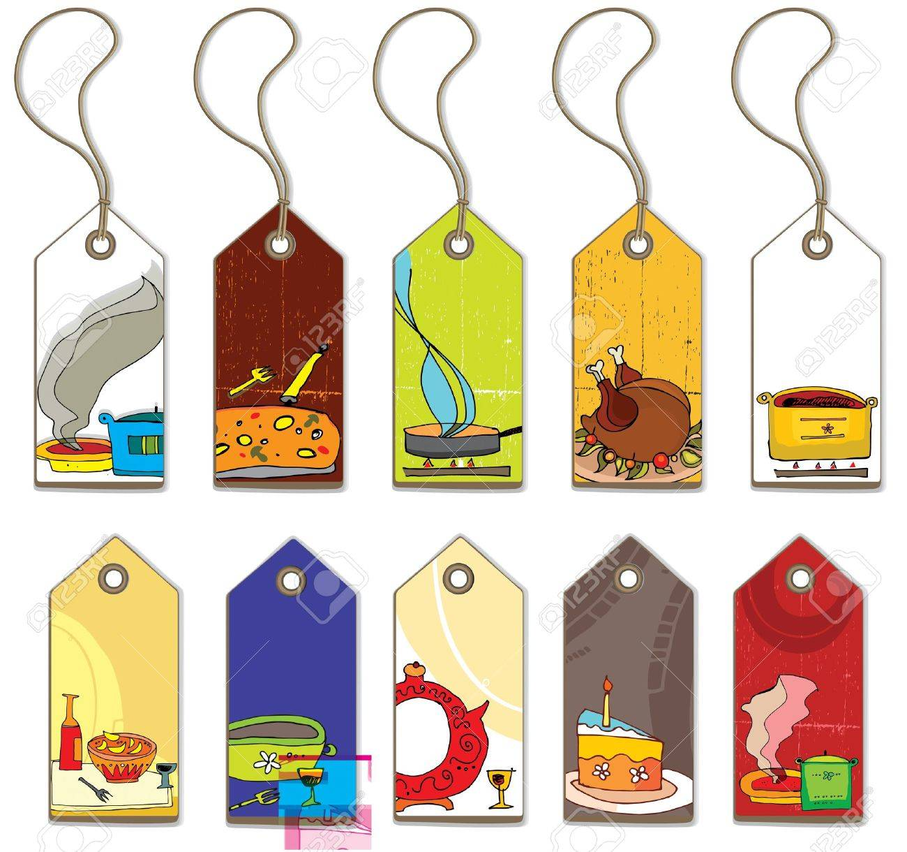 Colorful food tags. Stock Vector - 9526933