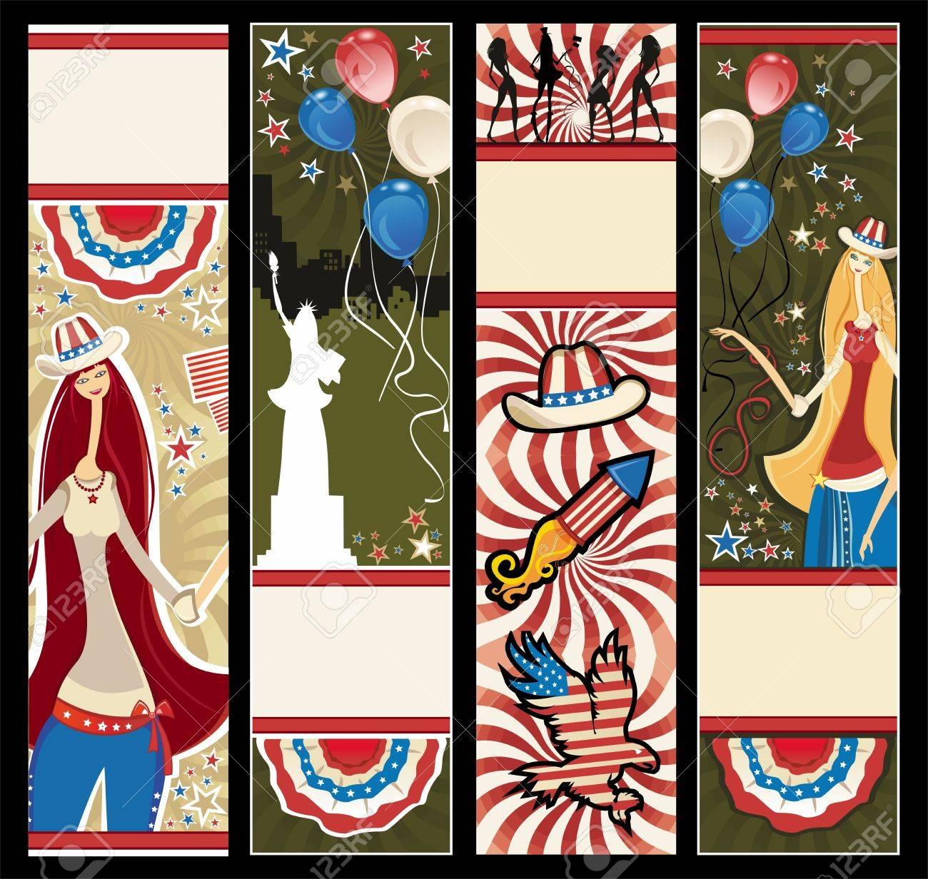 American patriotic vertical banners. Stock Vector - 9627246
