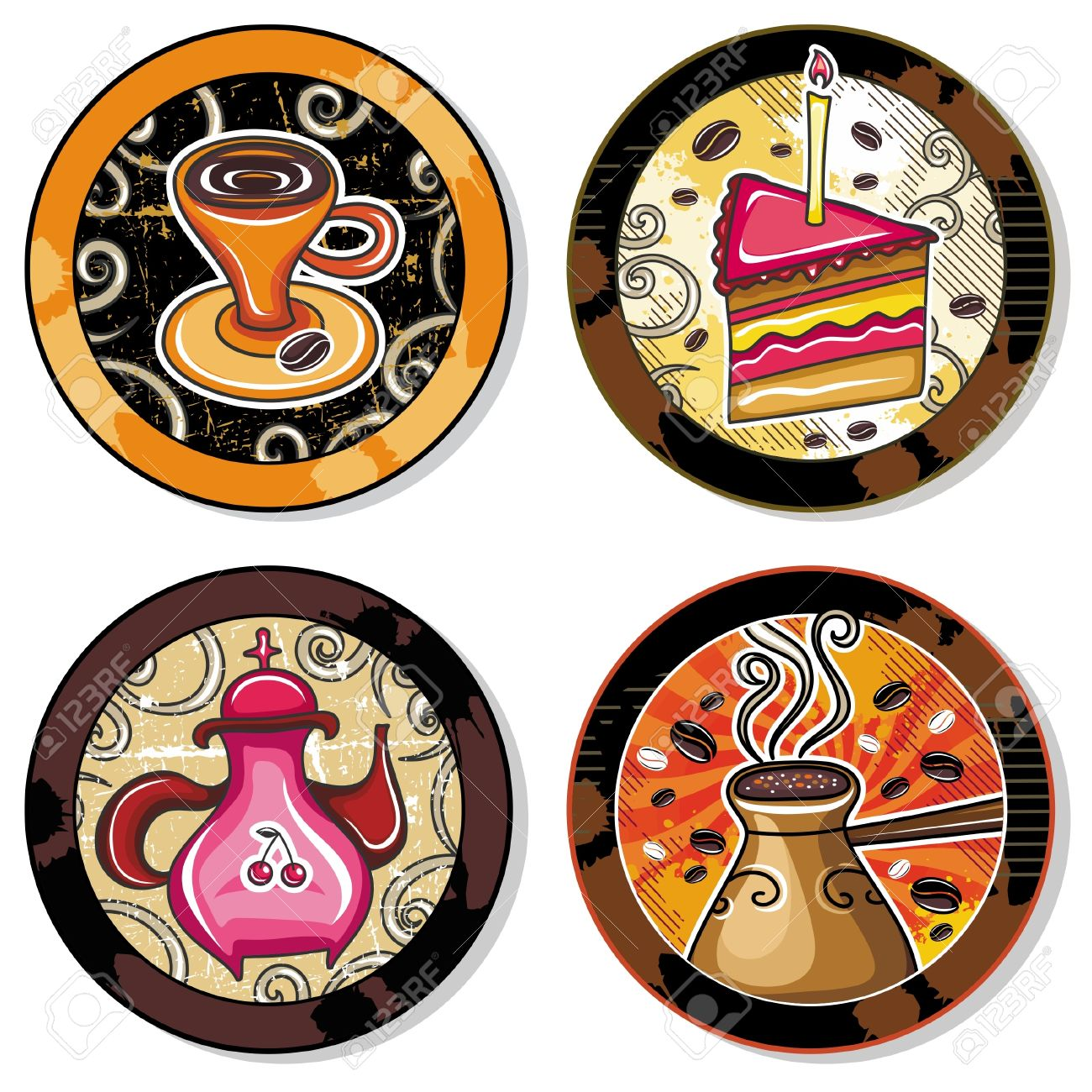 Grunge collection of drink coasters - coffee, tea, yerba mate theme Stock Vector - 9627245