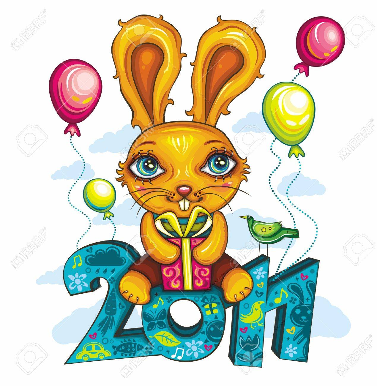 greeting card: Cartoon Bunny, holding colorful gift box, sitting at decorative 2011 letters. Cheerfully flying in the sky. Rabbit is the symbol of New Year, according to the Chinese calendar Stock Vector - 9933173