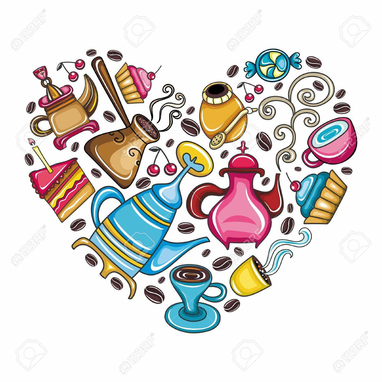 Coffee lover scene: Beautifully arranged coffee, tea, mate related objects and devices in the shape of heart isolated on white Stock Vector - 10256147