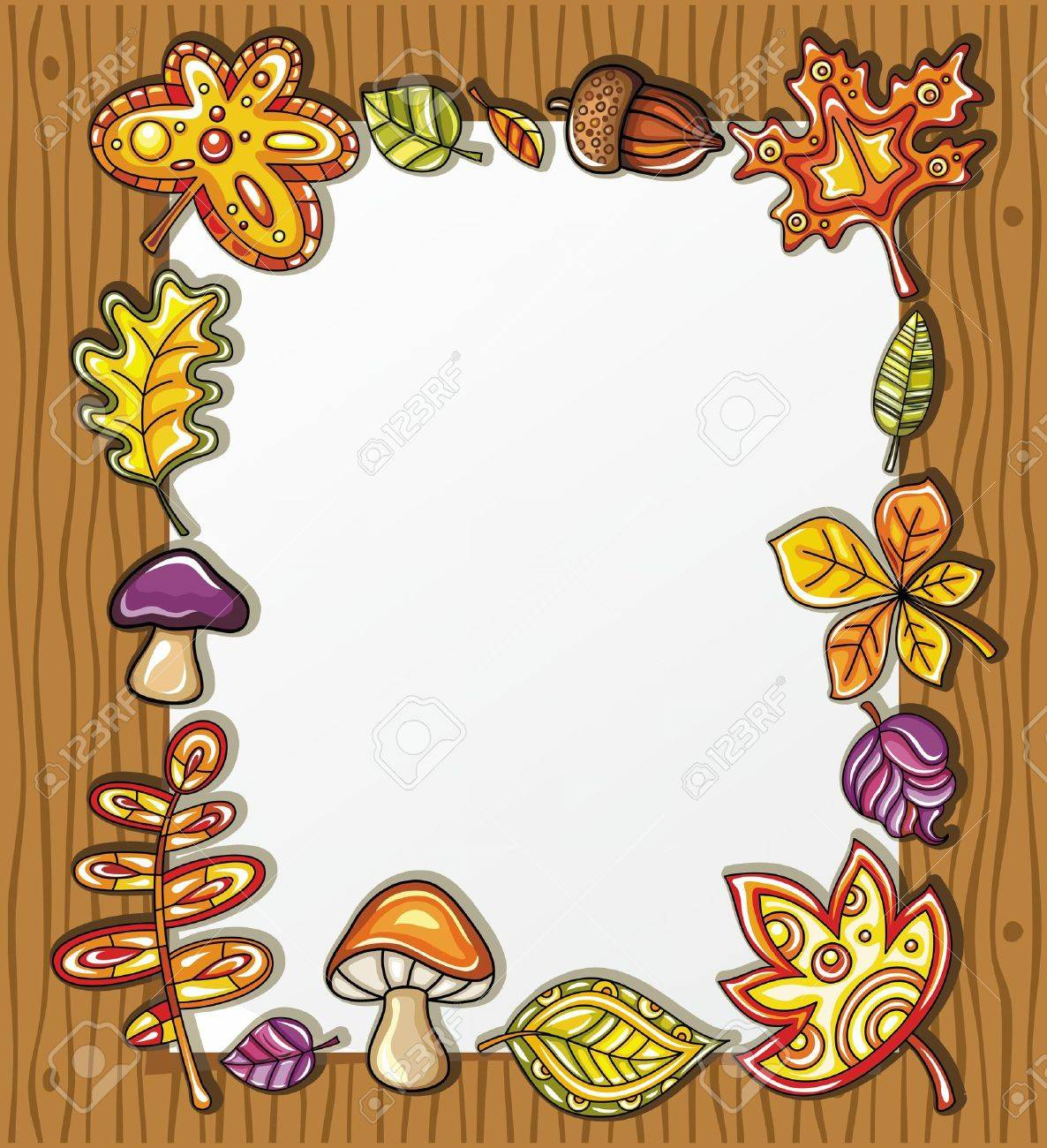 Vector frame with autumnal nature symbols on wooden background, with space for your text Stock Vector - 10363880