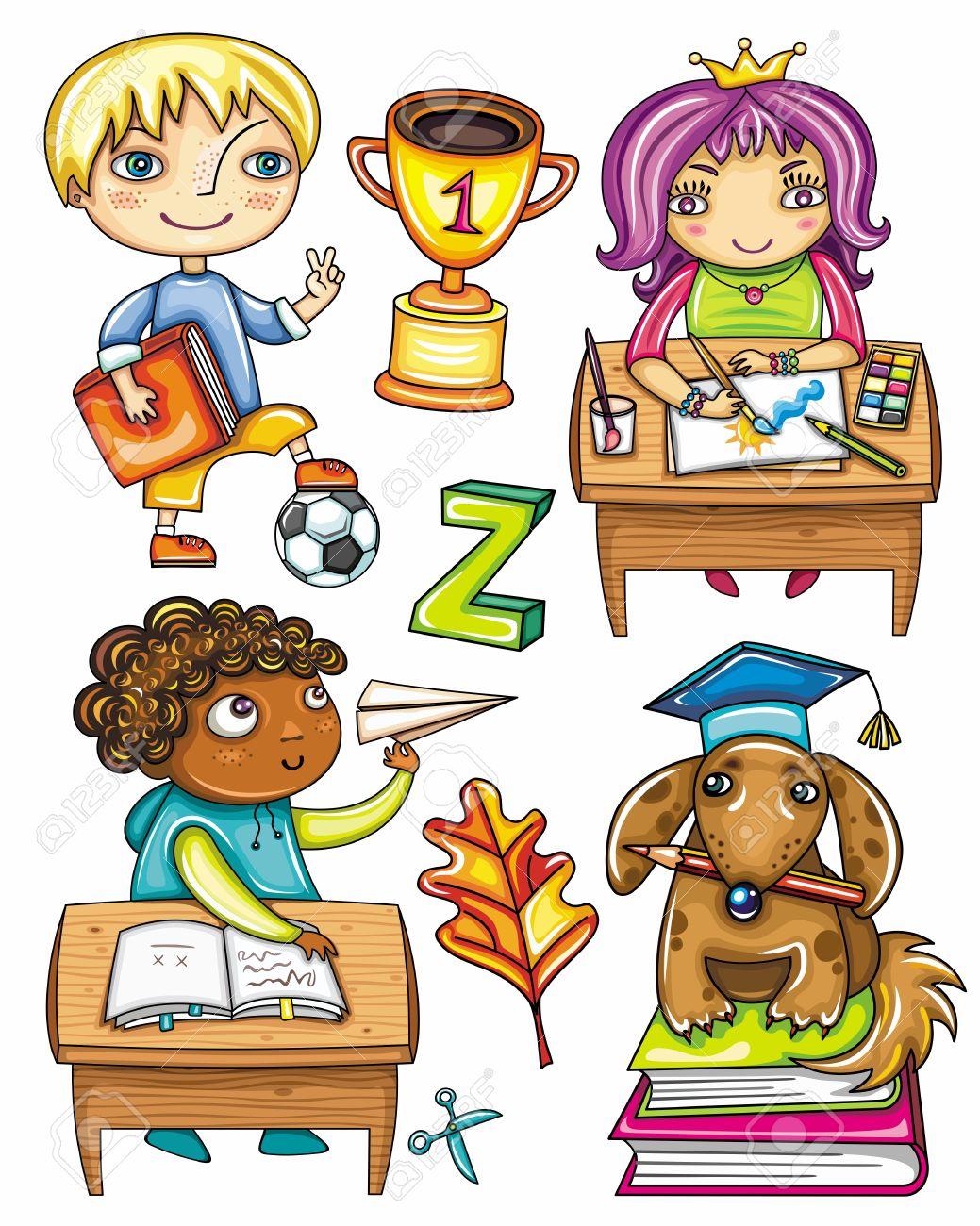 Niños En Edad Escolar Aislado En Un Fondo Blanco Ilustraciones