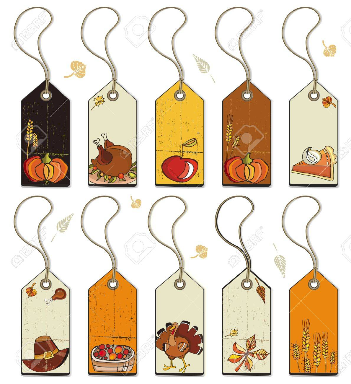 Thanksgiving Collection of tags. Stock Vector - 10919631