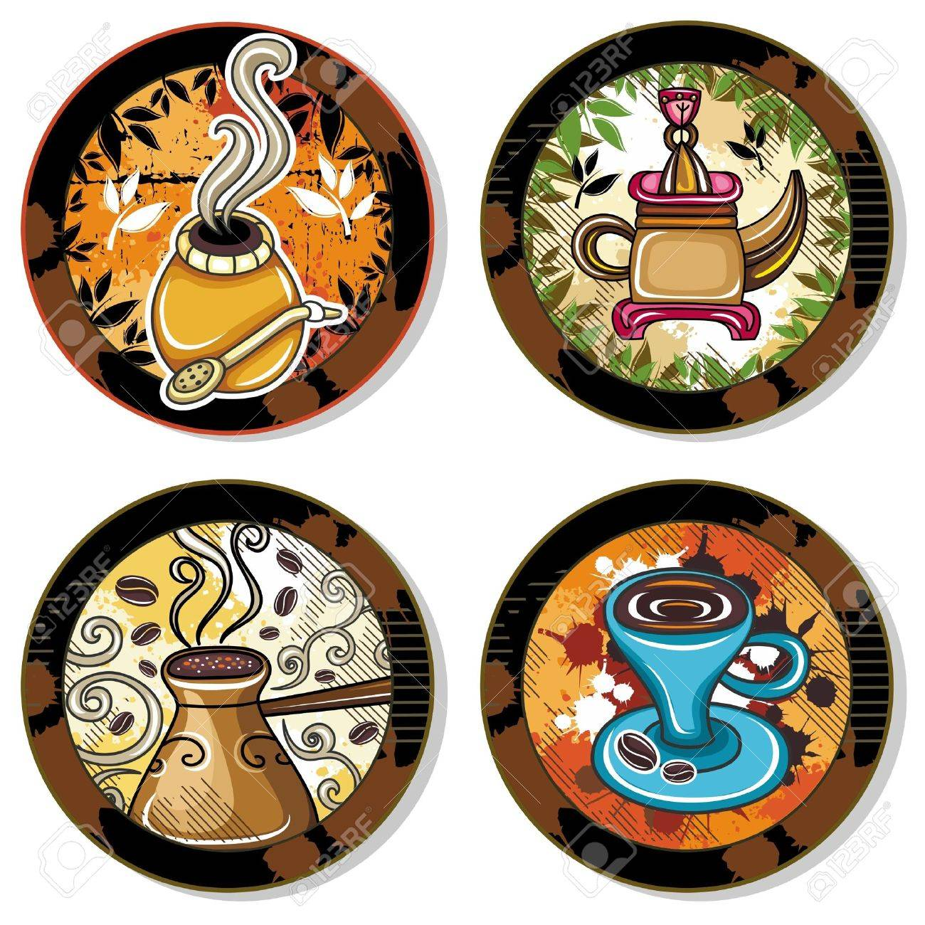 Grunge collection of drink coasters - coffee, tea, yerba mate theme, isolated on white background 4 Stock Vector - 12249719