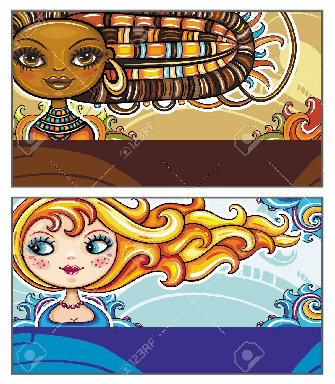Set of colorful decorative business cards featuring attractive girls with stylish hair styles. Space for your information. Stock Vector - 12249710