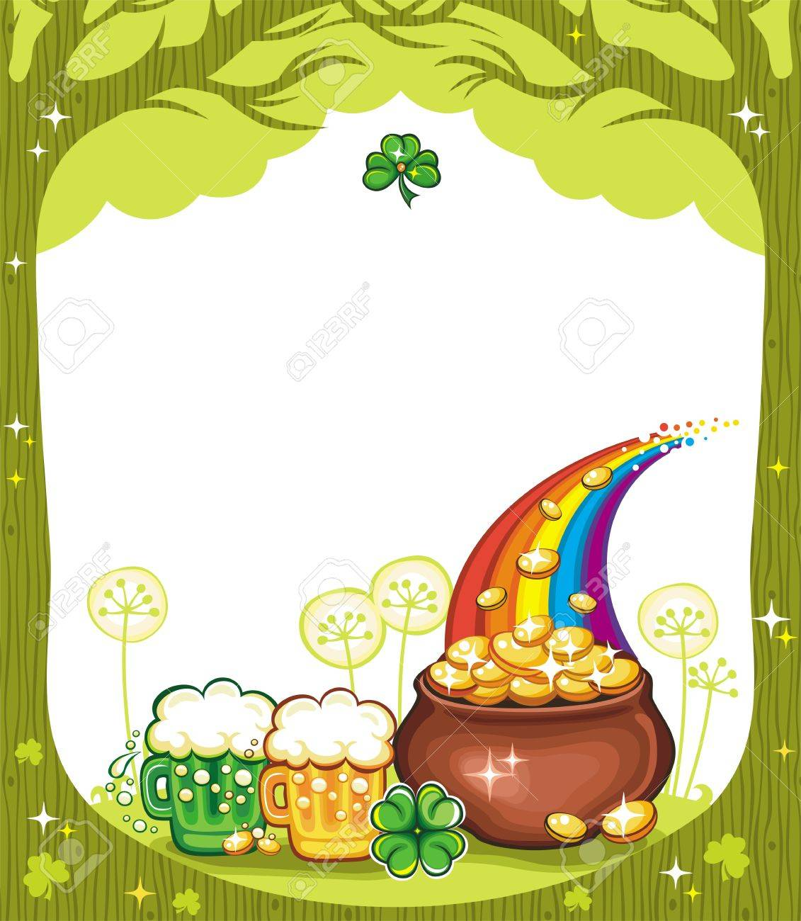 St. Patricks Day frame with trees, pot of gold, beer mugs, clover. Stock Vector - 12483748