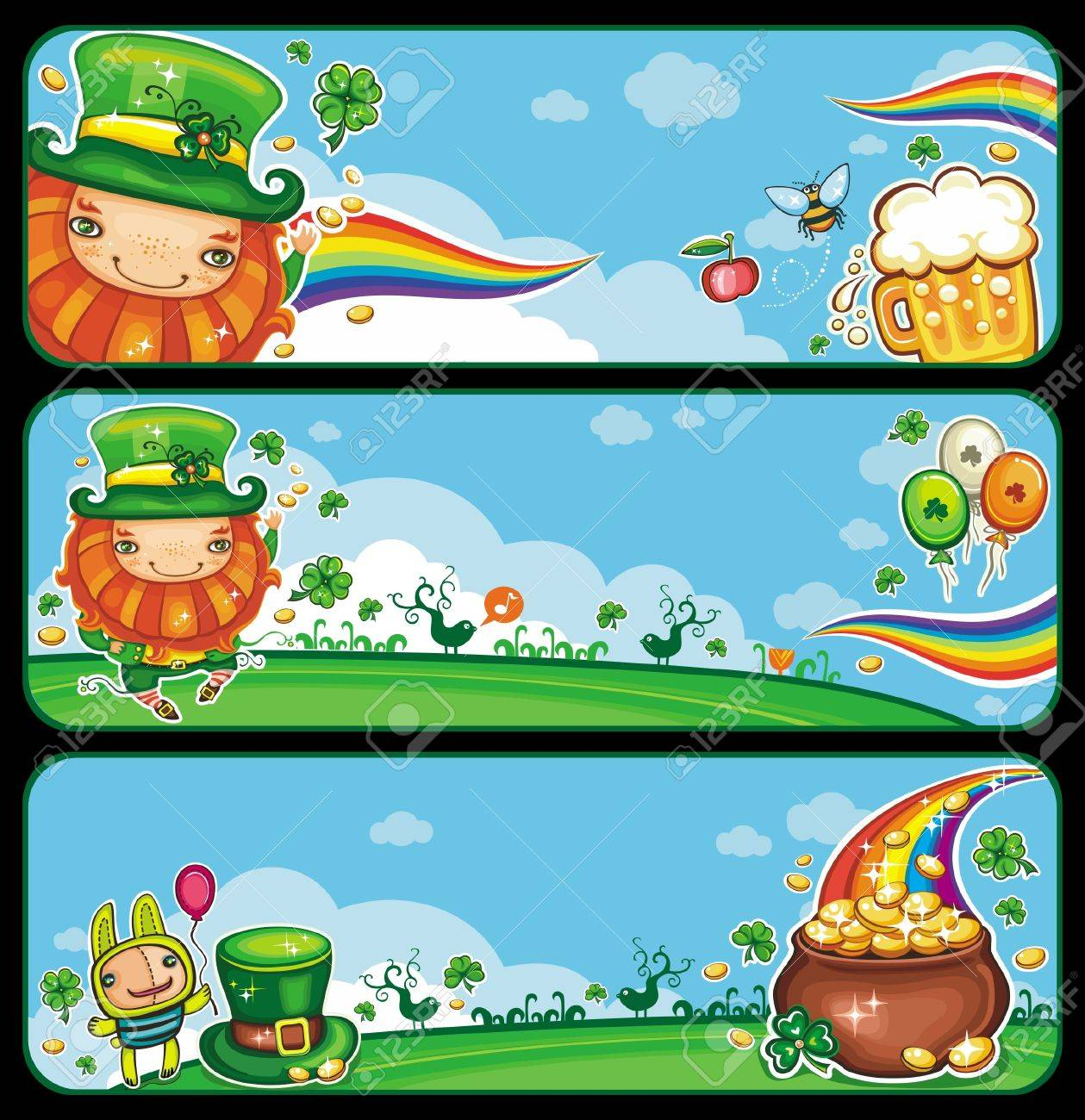 St  Patrick s Day banners with copy space Stock Vector - 12483775