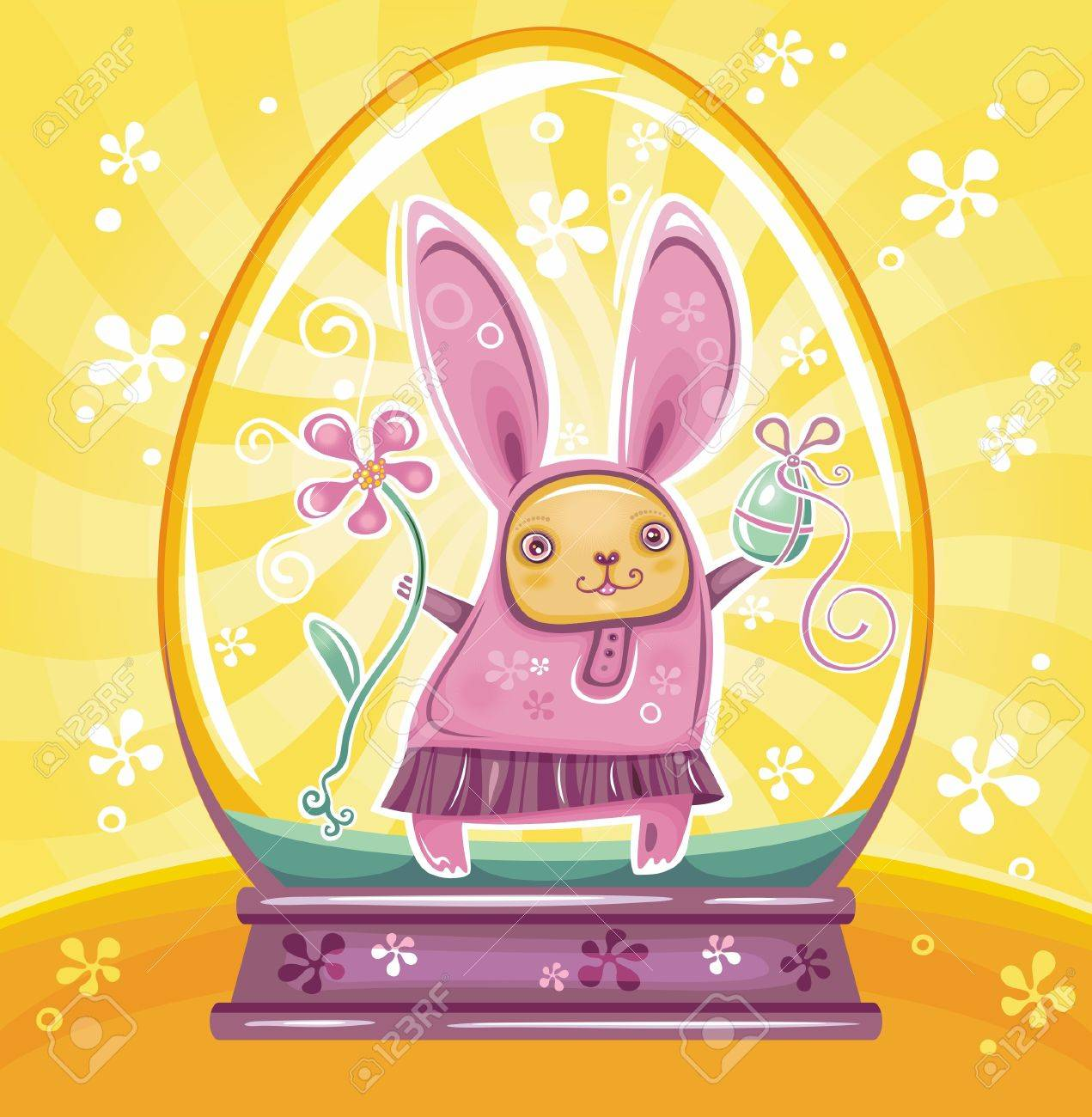 Cute Easter Bunny inside of snow-dome or crystal ball Stock Vector - 12890452