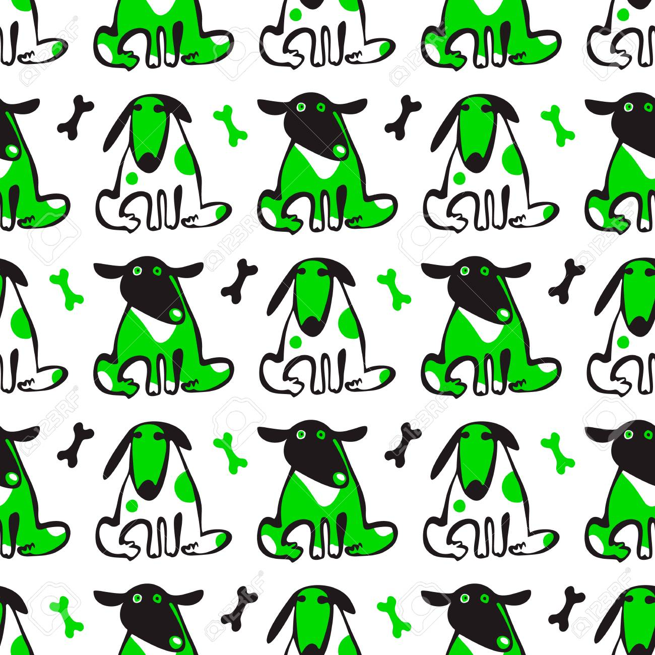 seamless vector pattern with cute funny dogs and their treats
