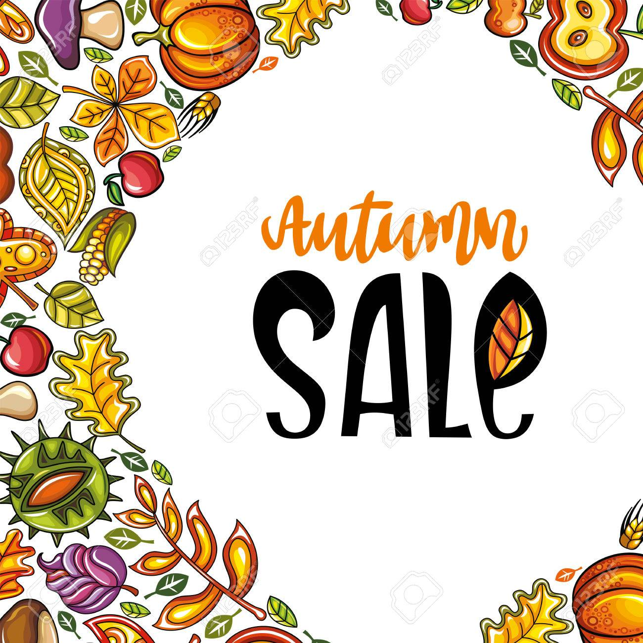 Vector Autumn Harvest Festival Greeting Card Background Hand