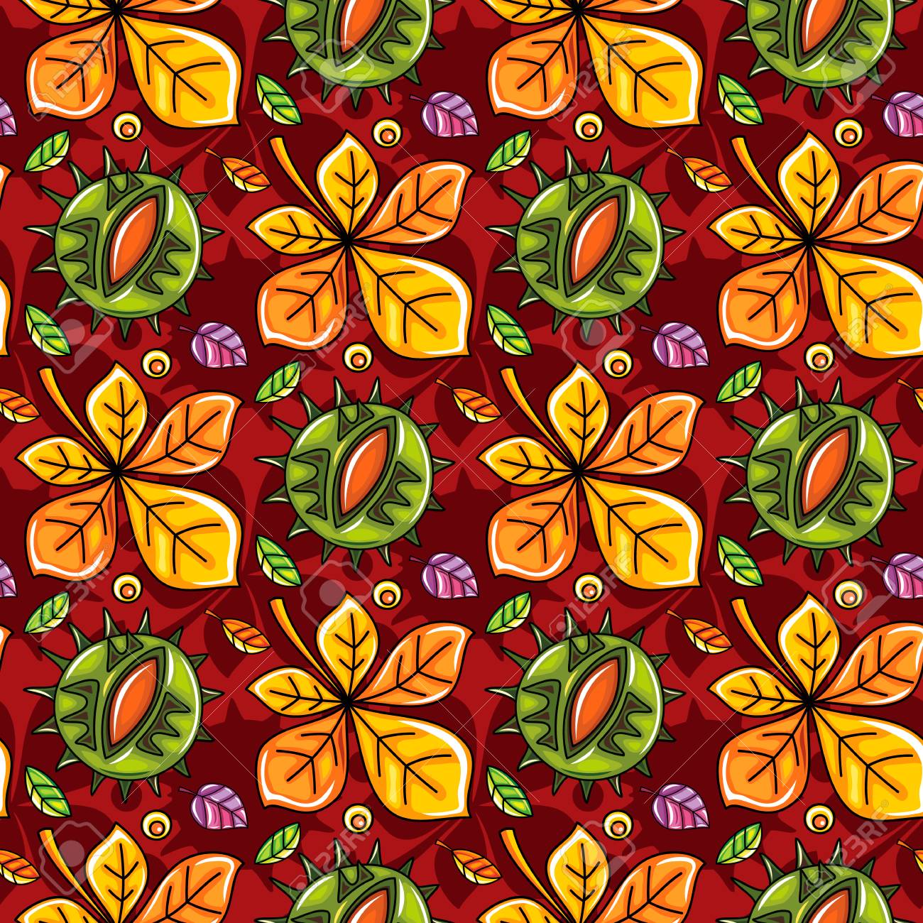 e6d5d156c019 Autumn seamless pattern with leaves and chestnut, fall leaf background...