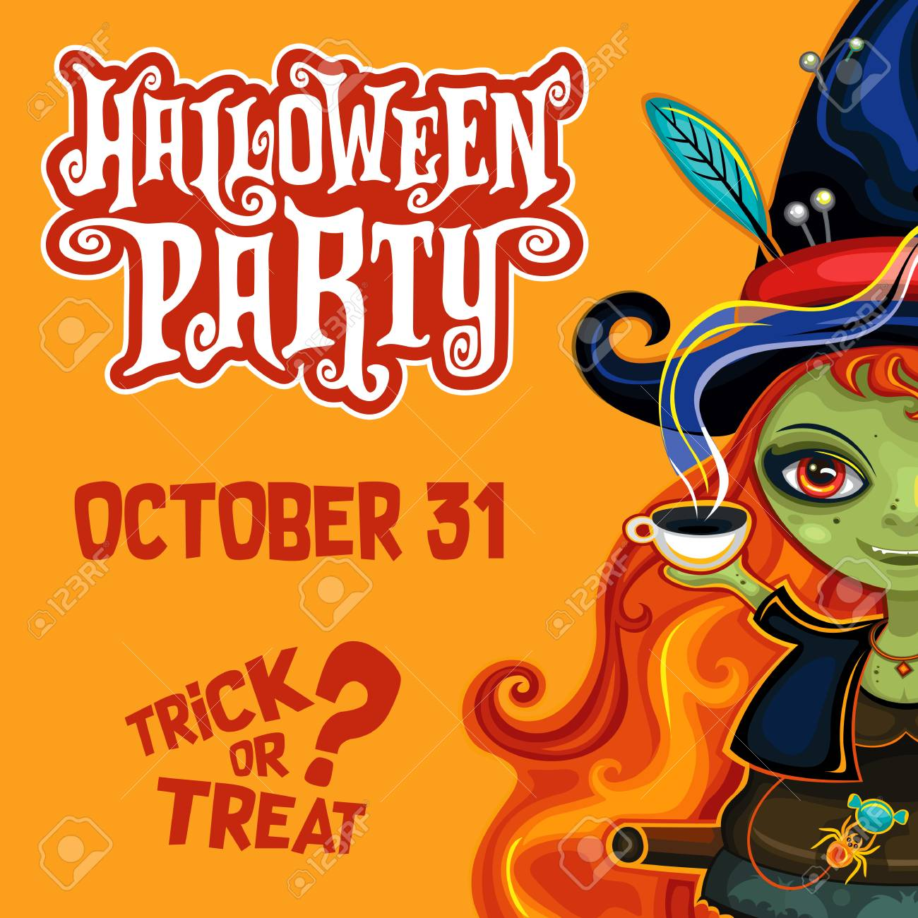 Vector Halloween Party Invitation Poster Banner With Spooky