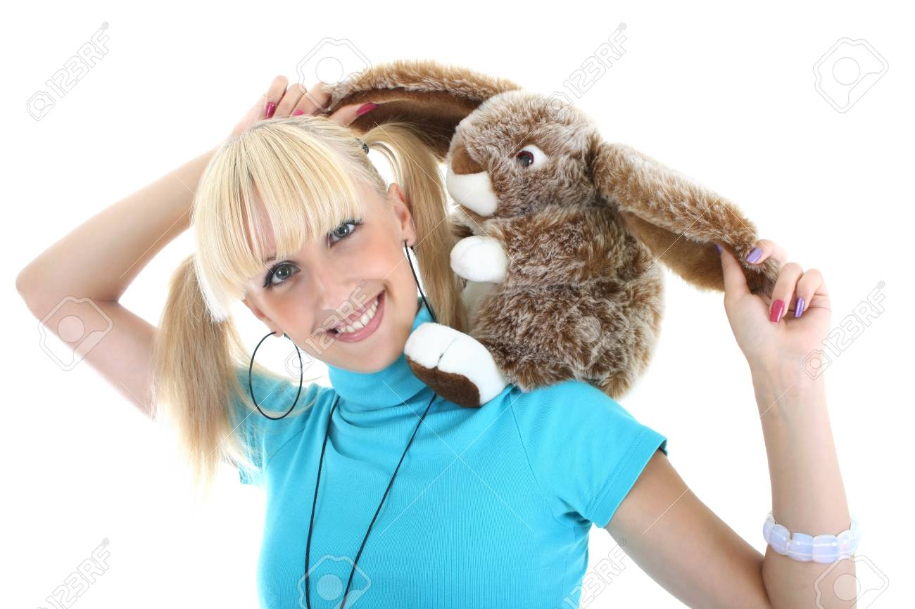 young blondie girl playing with toy Stock Photo - 7635016