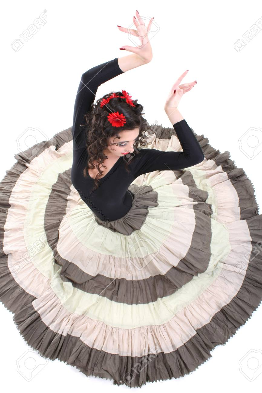 young attractive woman in long skirt dancing Stock Photo - 7633128