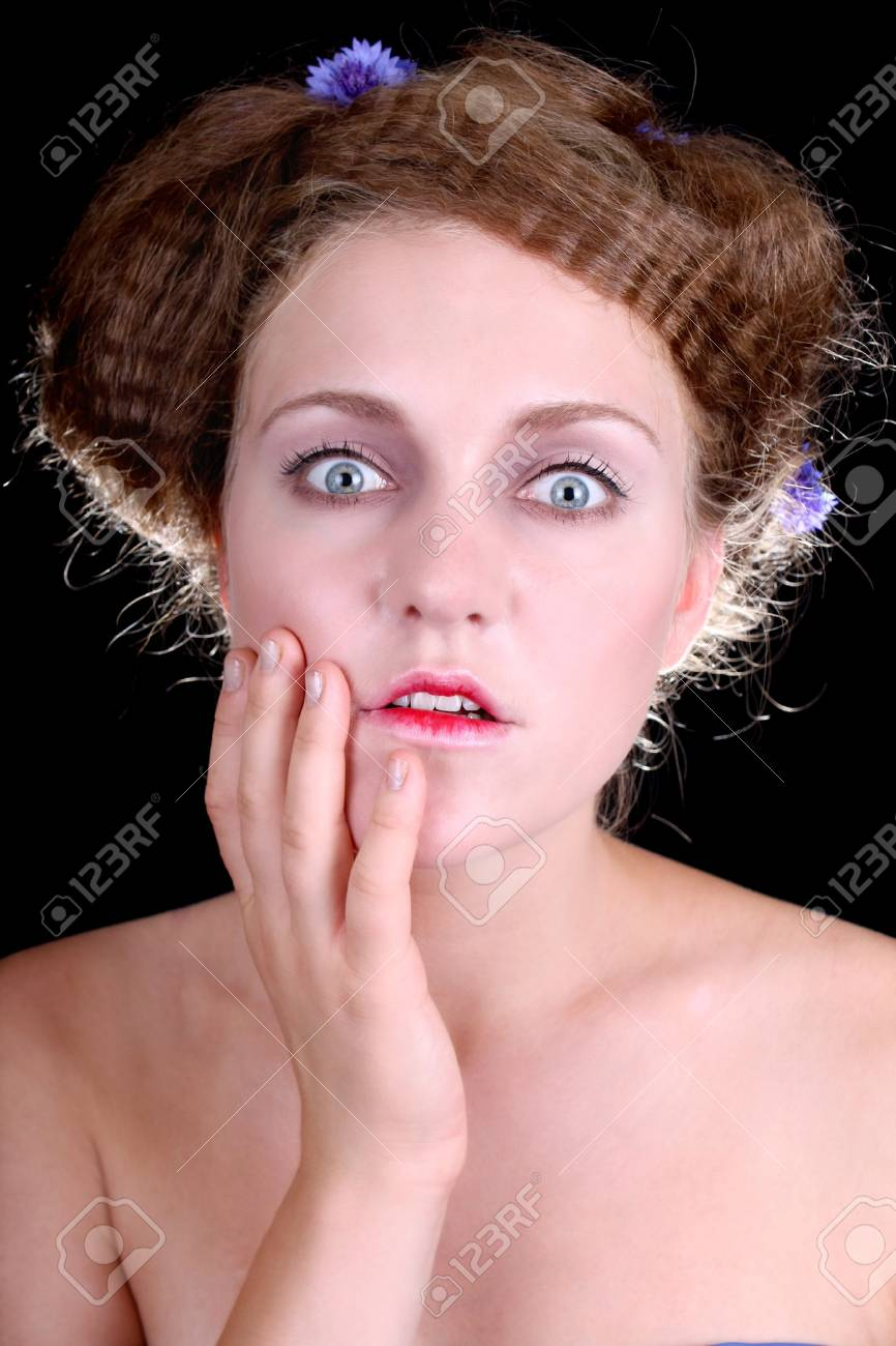 Woman with red lips very shocked Stock Photo - 7859529