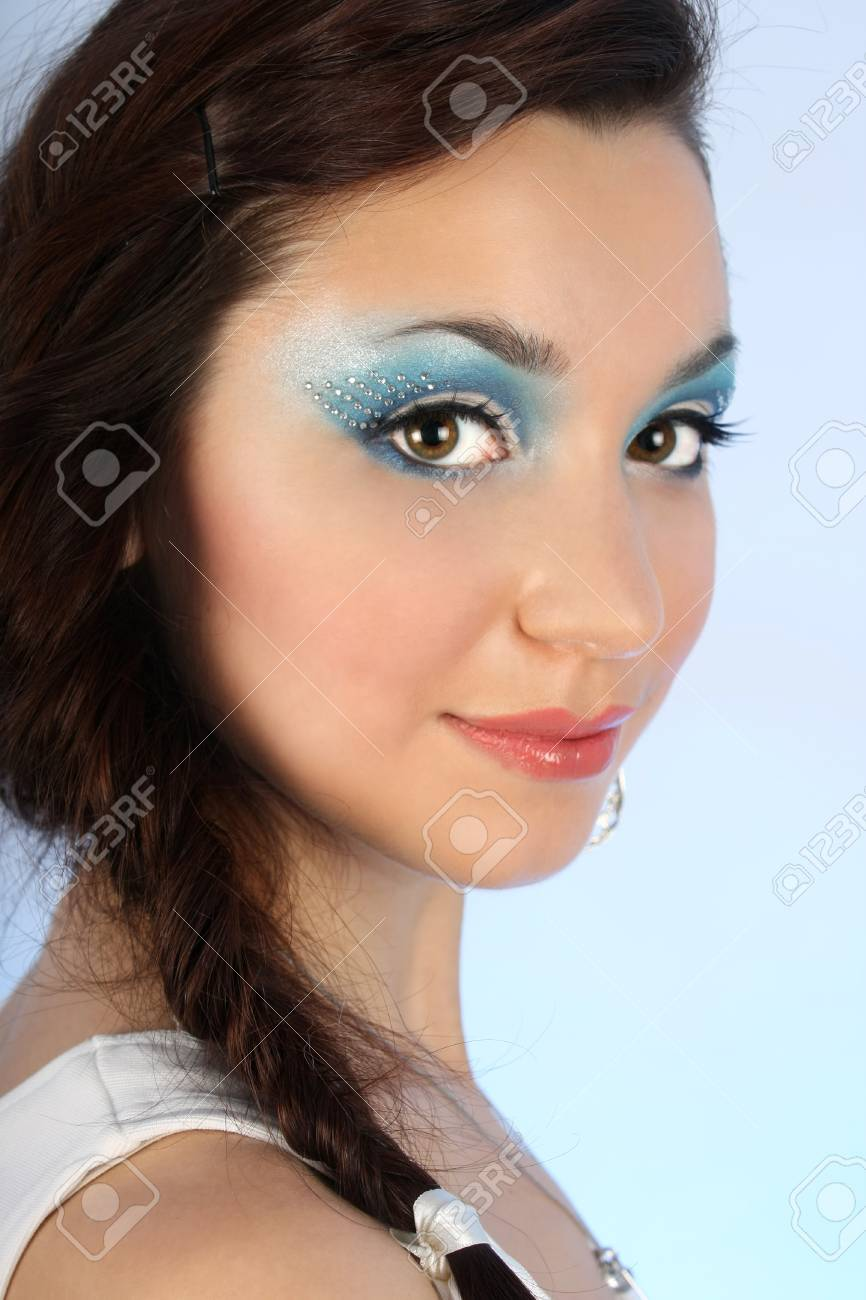 close up portrait of beautiful woman with winter blue make-up Stock Photo - 8275712