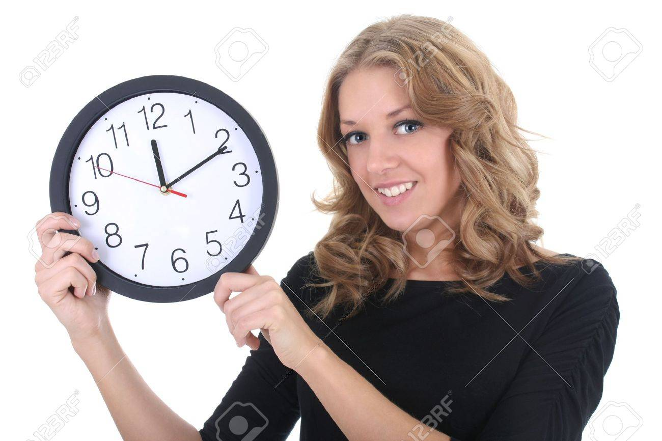 Happy woman in black with clock over white Stock Photo - 9263919