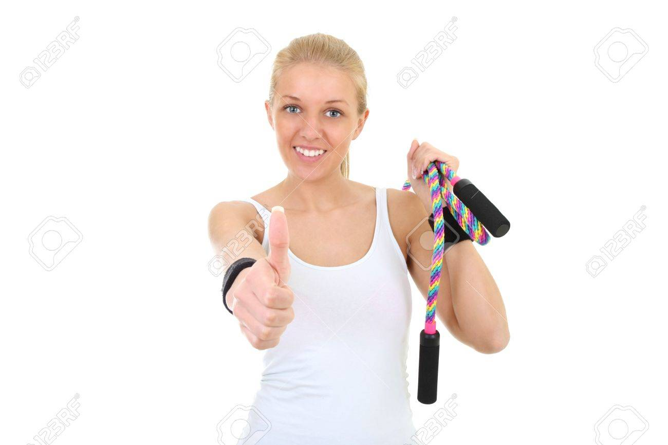 beautiful girl with skipping rope thumbs up Stock Photo - 11561062