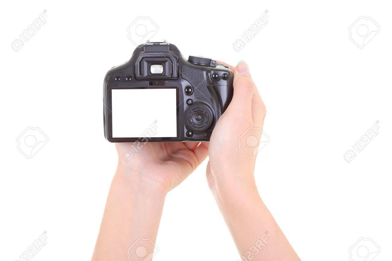 dslr camera in male hands over white. copyspace Stock Photo - 12422450