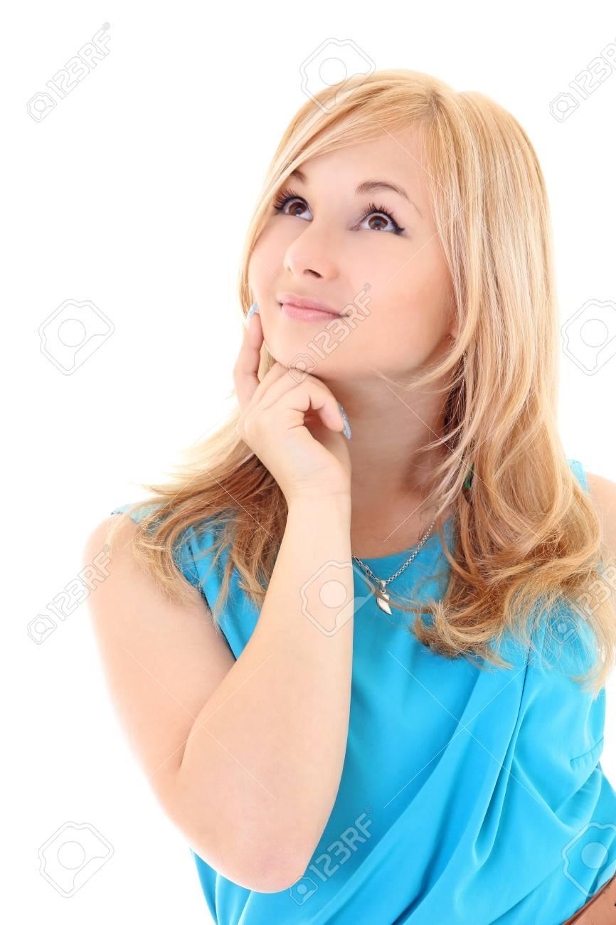 Beautiful thoughtful woman looking up Stock Photo - 15368871