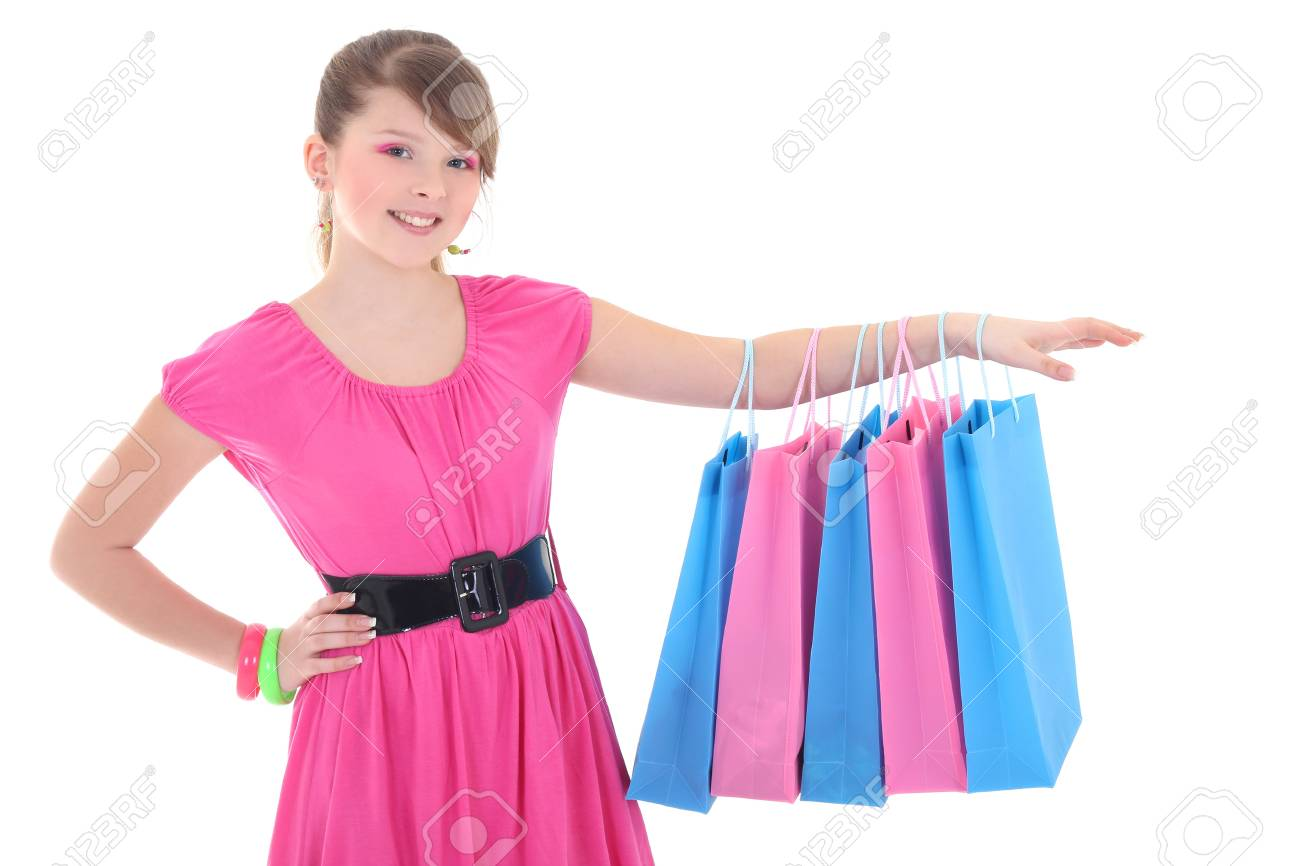 girl in pink dress after shopping over white background Stock Photo - 17593490