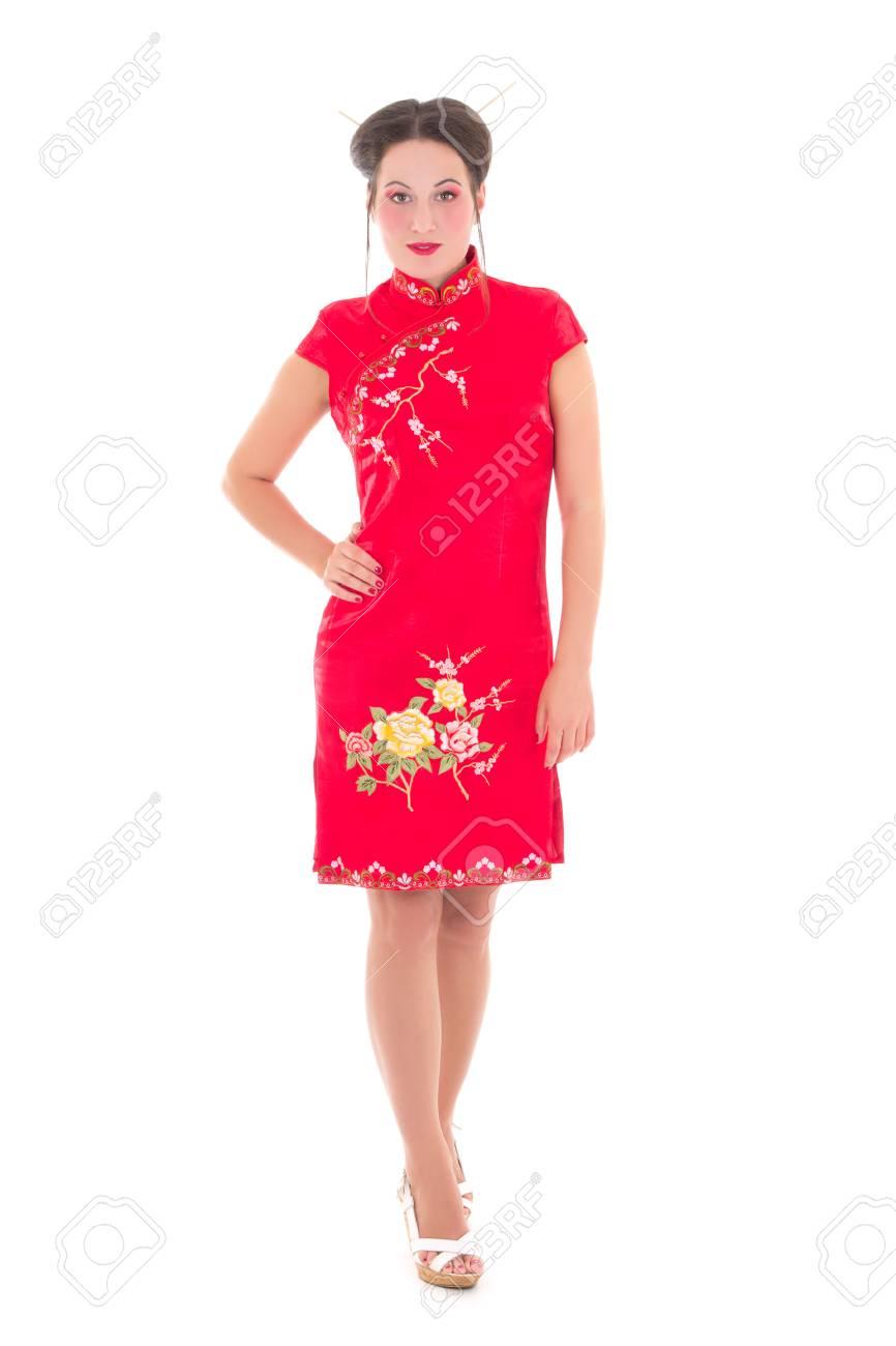 vista previa de invicto x genuino mejor calificado Mujer hermosa joven vestido japonés aislado en fondo blanco