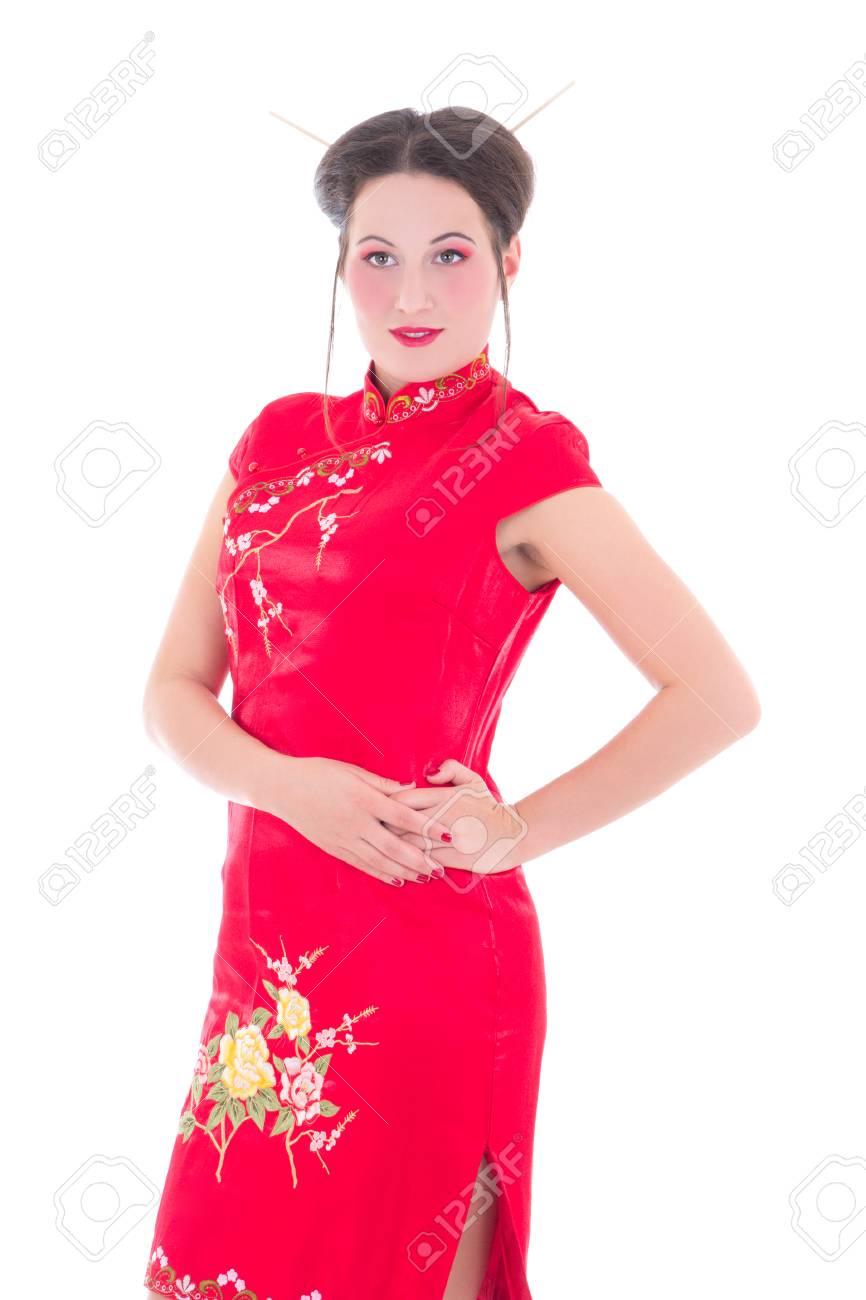 1362eff1e Foto de archivo - Mujer joven y atractiva en el vestido rojo japonés aislado  en fondo blanco