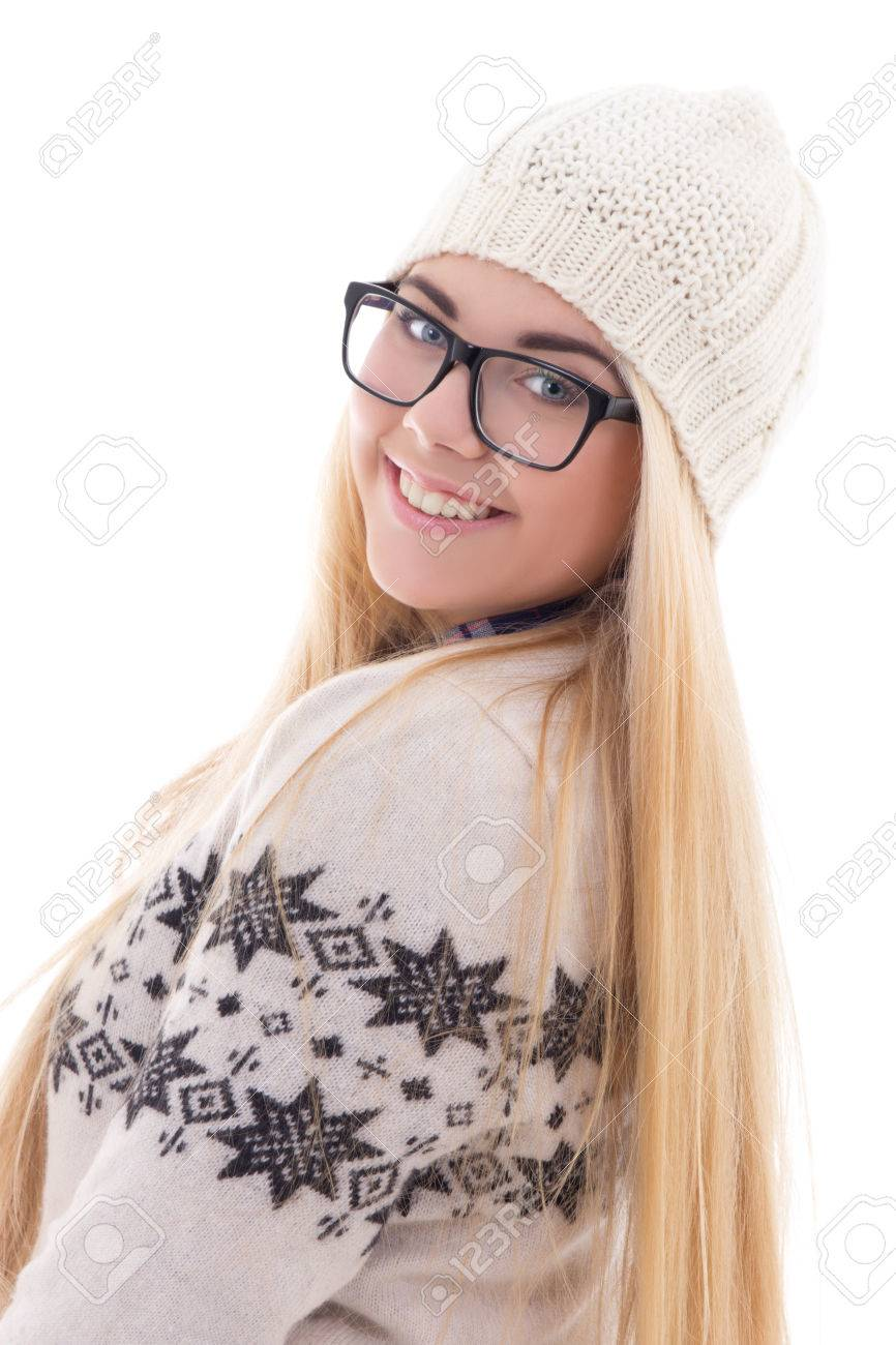 attractive smiling teenage girl with beautiful long hair in warm winter clothes isolated on white background Stock Photo - 22809264