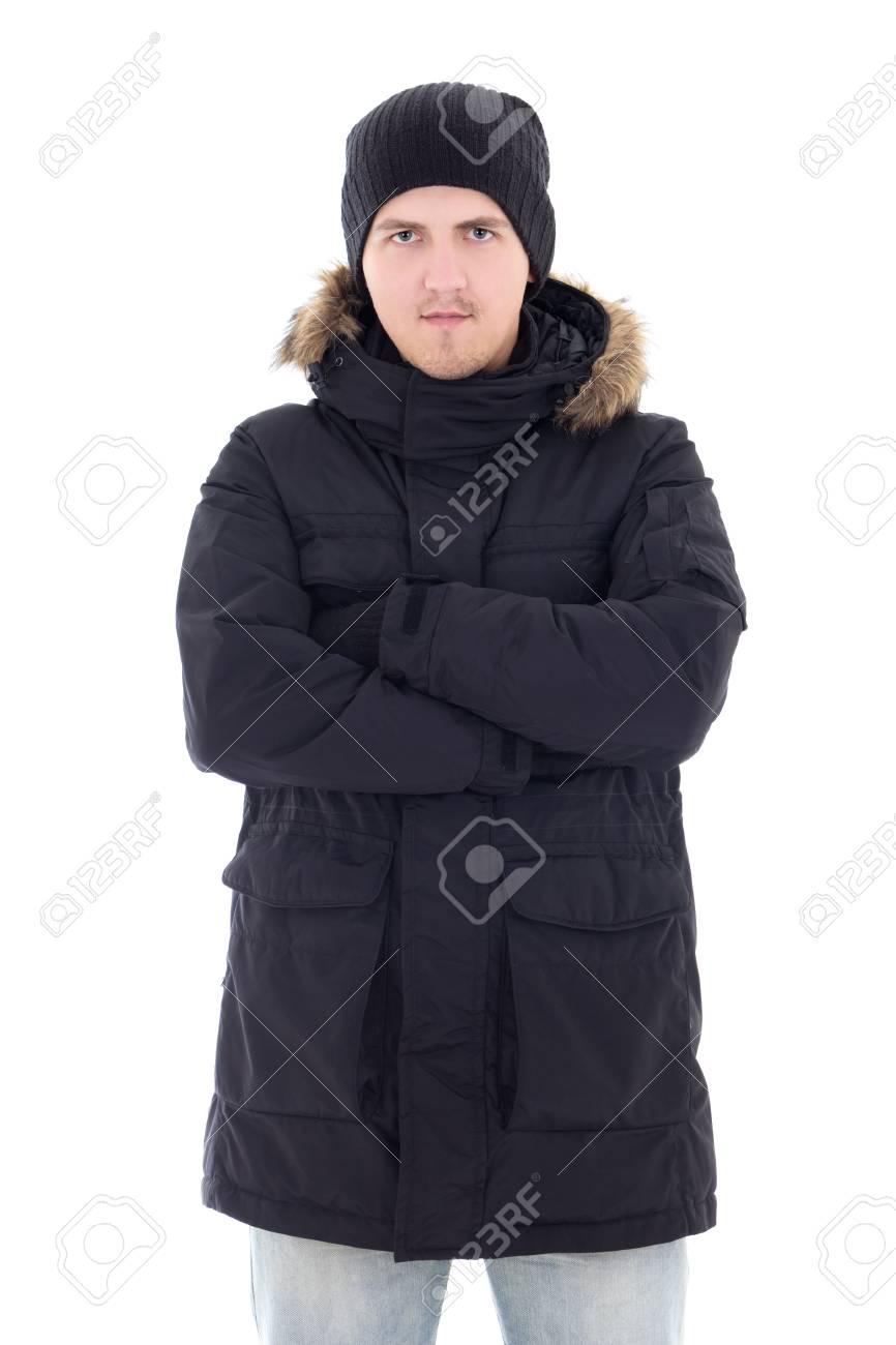 D'hiver Portrait Blanc Attrayant Veste Isolé Homme En Noir De Sur Fond Jeune PZikuOXT