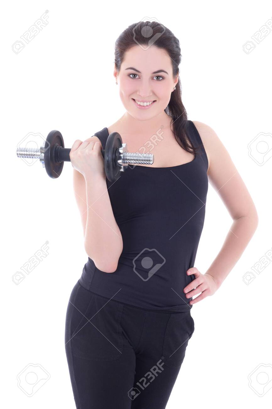 young attractive sporty woman with dumbbell isolated on white background Stock Photo - 25973339