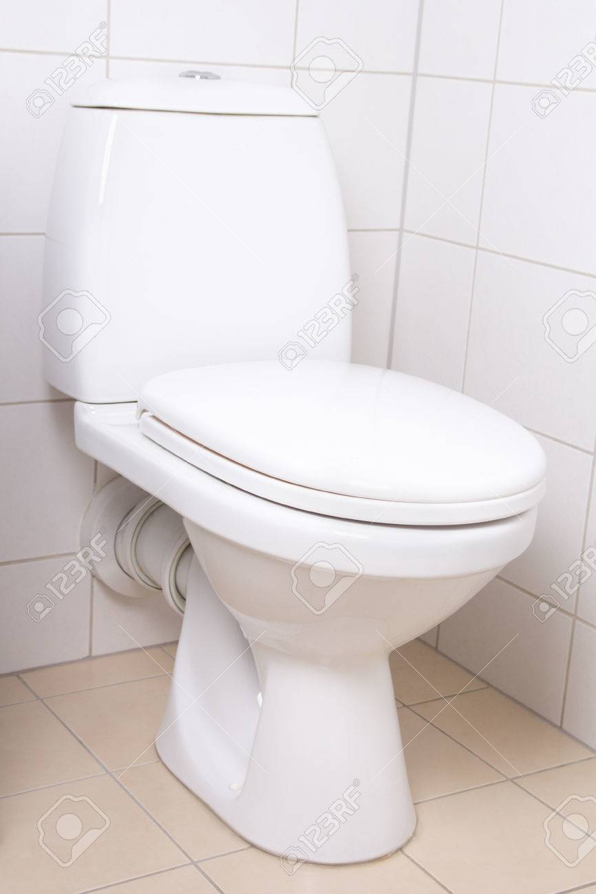 Modern WC Pan In White Tiled Bathroom Stock Photo, Picture And ...