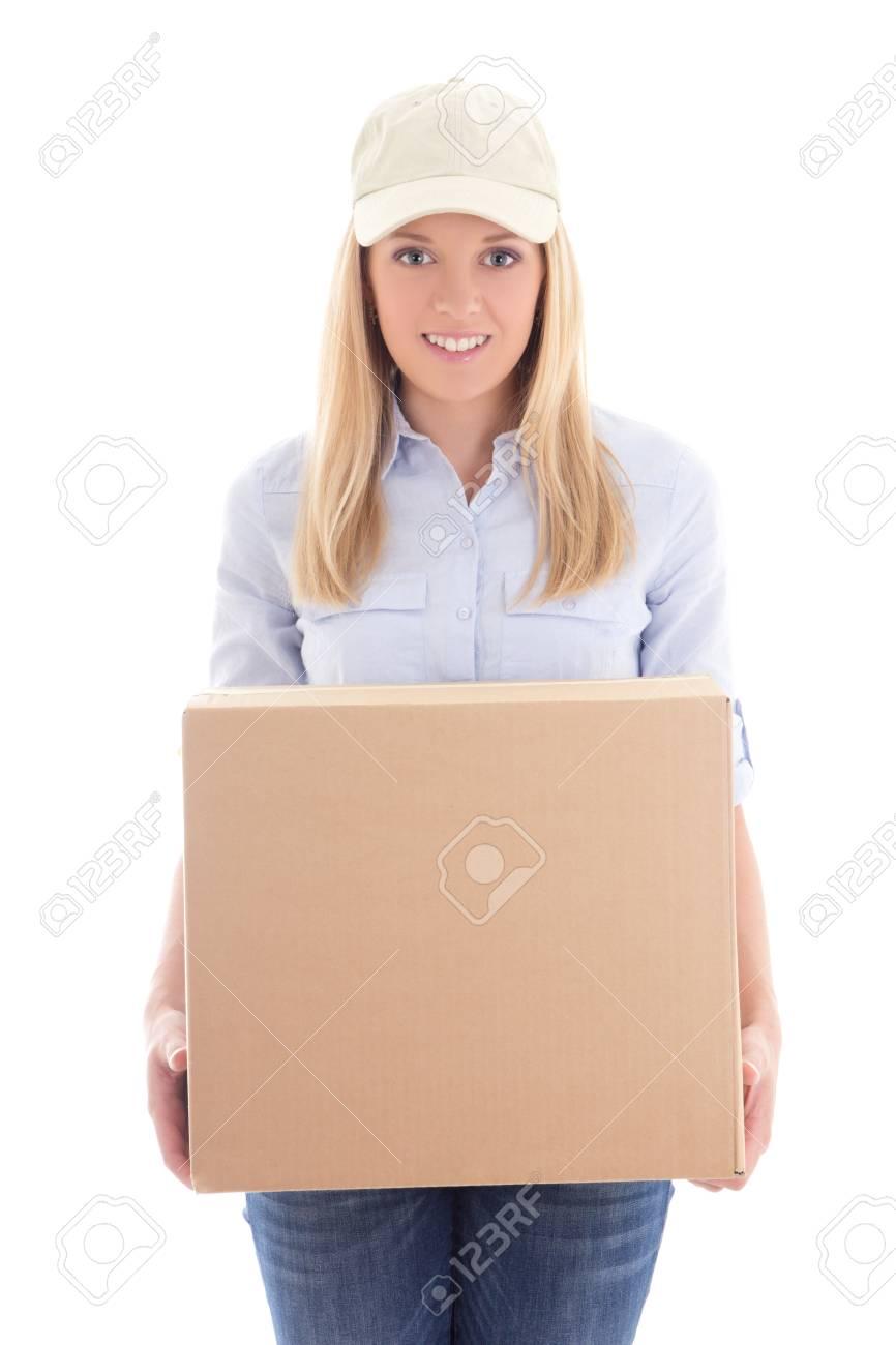 Estamos de cumpleaños. 28710603-mujer-de-entrega-de-la-caja-de-cart%C3%B3n-explotaci%C3%B3n-aislado-en-fondo-blanco