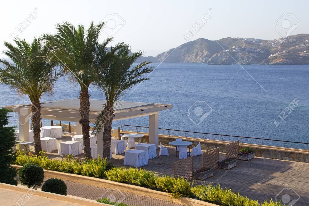 Summer Outdoor Restaurant Terrace With Sea View On Crete Island Stock Photo Picture And Royalty Free Image Image 30906318